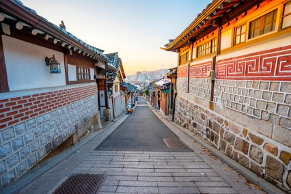 Bukchon Hanok historic district in Seoul, South Korea.