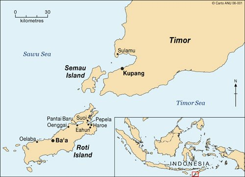 West Timor - Rote Islands Map