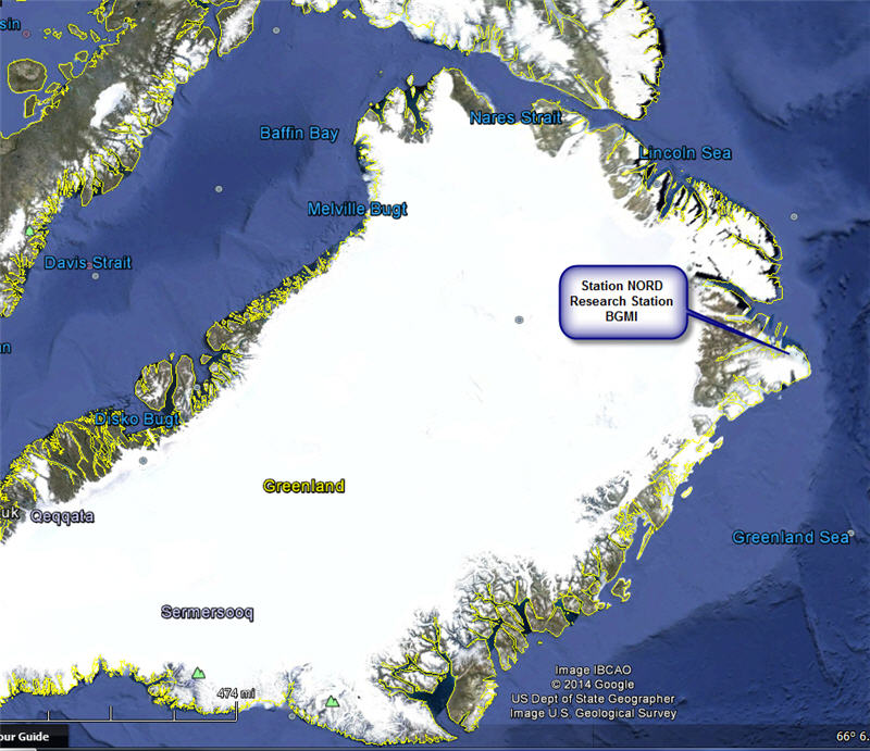 Greenland Station Nord map