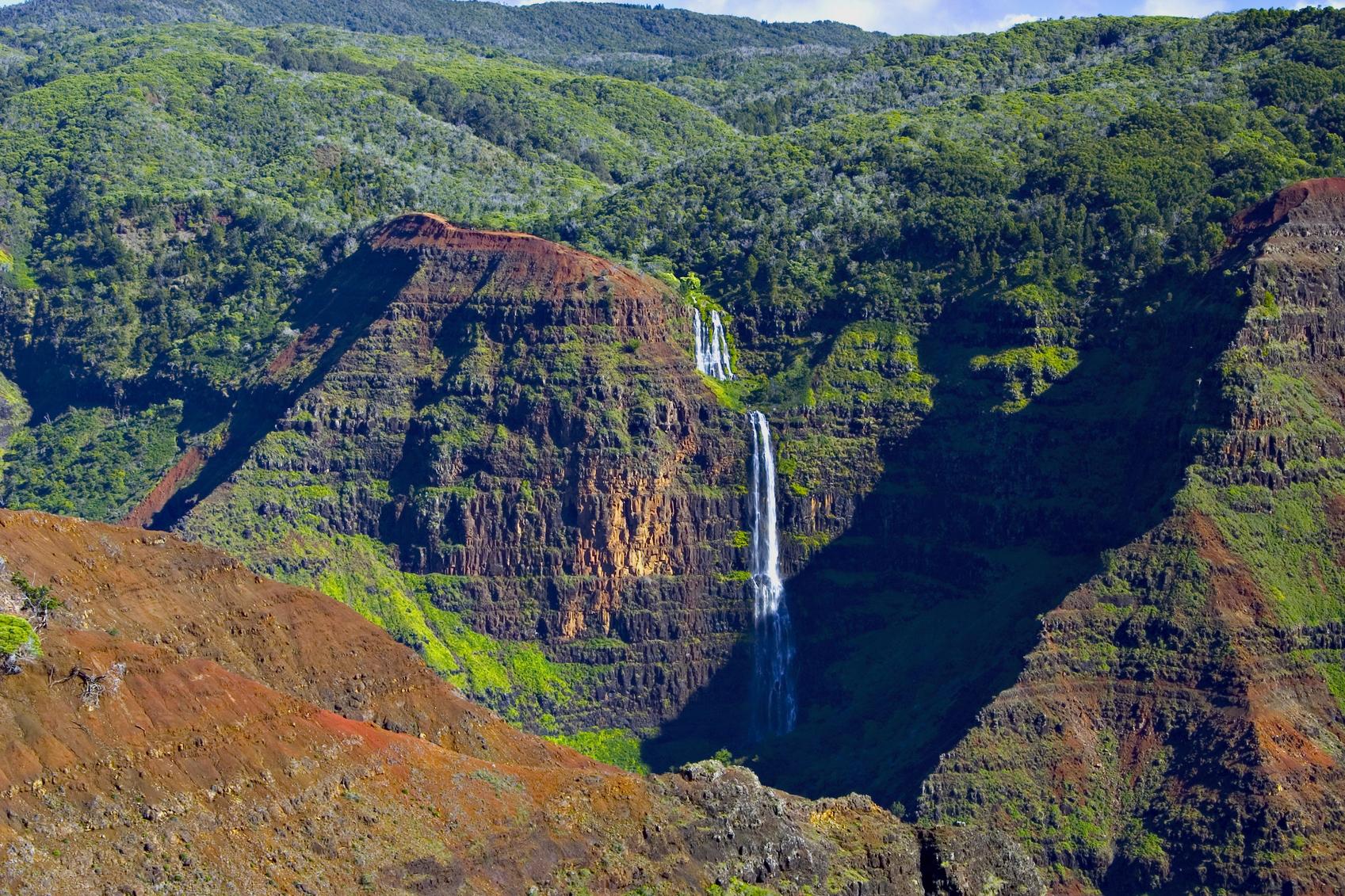 Waterfall In Waimea Canyon - Kauai, Hawaii