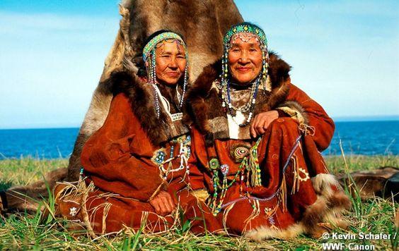 Koryak people in reindeer costume Ossora, Kamchatka, Russian Federation