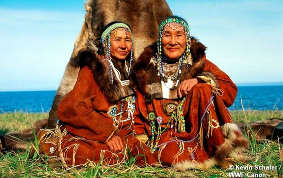 Koryak people in reindeer costume Ossora, Kamchatka, Russian Federation